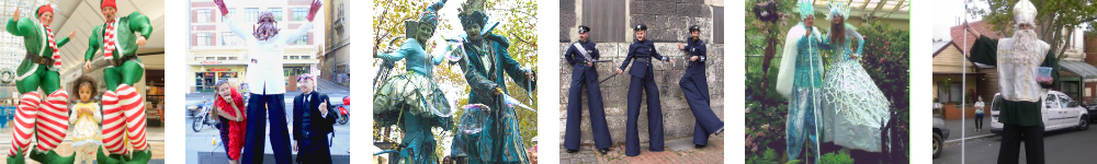Diverse stilt walkers entertainers 2