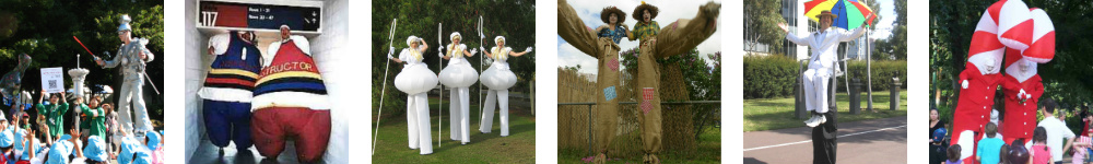 Diverse stilt walkers entertainers 3