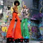 Stilt walkers Melbourne and Victoria funky love squad